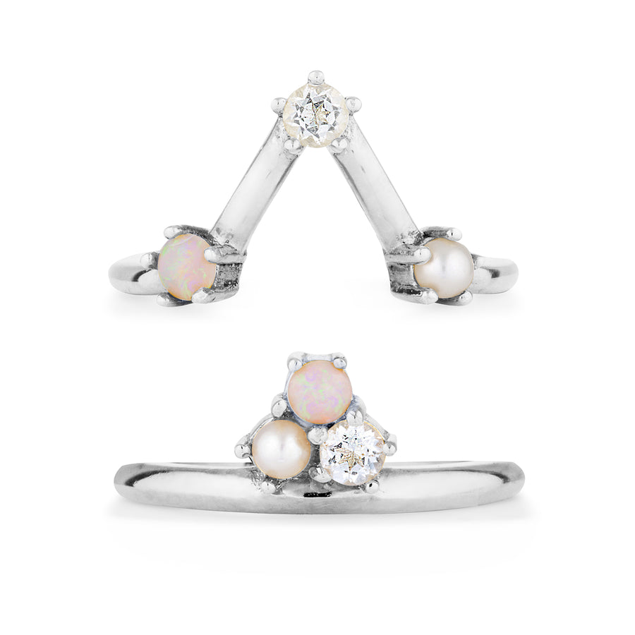 constellation rings designed to be worn together. sterling silver double V rings with Australian white opal, pearl and diamond. Geometric fine jewellery. Contemporary designer jewellery brand in Australia
