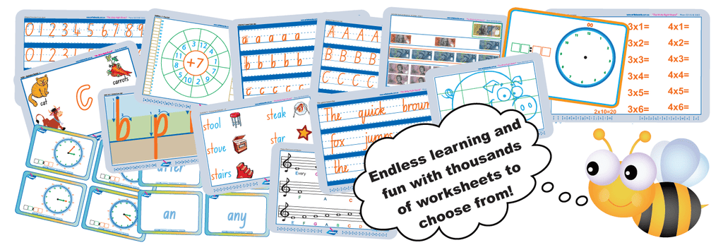 Handwriting and tracing worksheets for NSW, VIC, QLD, TAS, SA and WA. Best fonts in Australia