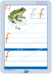 QLD Modern Cursive Font Australian animal alphabet worksheets. QLD alphabet handwriting and tracing worksheets.
