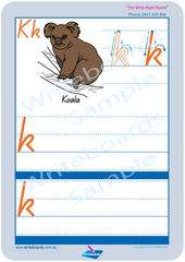 Australian Animal Alphabet Worksheets completed using QLD Modern Cursive Font for Occupational Therapists and Tutors