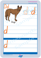 SA Modern Cursive Font Australian animal alphabet worksheets. SA alphabet handwriting and tracing worksheets.