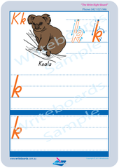 TAS Modern Cursive Font Australian Animal Pack the letter k
