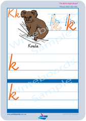 VIC Modern Cursive Font Australian animal alphabet worksheets. VIC alphabet handwriting and tracing worksheets.