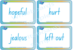 Emotion Flashcards completed in NSW Foundation Font handwriting. Play educational games.