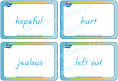 Emotion Flashcards completed in TAS Beginner Font handwriting. Play educational games.