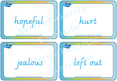 VIC Modern Cursive Font Emotion Flashcards for teachers, VIC and WA emotion flashcards for teachers