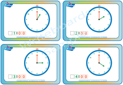 Learn to Tell the Time Flashcards included in SA Modern Cursive Font Special Needs Handwriting Kit.