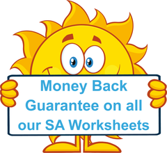 All SA Modern Cursive Font School Readiness Kit worksheets come with a money back guarantee.