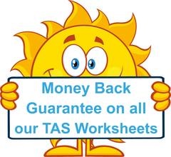 All our TAS Beginner Font Handwriting worksheets come with a Money Back Guarantee.