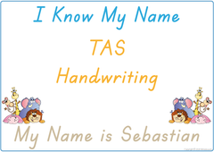 teach your child their name using TAS handwriting