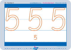 SA Modern Cursive Font Special Needs Number Worksheets and Handwriting Kit.
