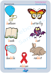 QLD Modern Cursive Font Consonant Phoneme Posters for Tutors and Therapists with descriptive pictures