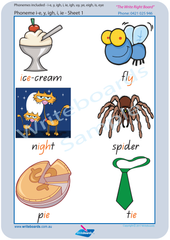 QLD Modern Cursive Font colour coded Vowel Phonemes posters and resources for teachers and schools