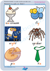 TAS Modern Cursive Font Vowel Phonemes Posters for Tutors and Therapists with Colourful Descriptive Pictures