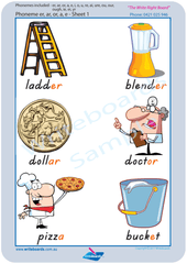 Special Needs Vowel Phonemes Poster using TAS Modern Cursive Font handwriting