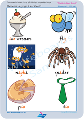 VIC Modern Cursive Font Vowel Phonemes Worksheets using VIC, WA and NT handwriting. Writeboards.