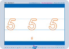 Special Needs Handwriting Kit for TAS Modern Cursive Font includes free number worksheets and flashcards