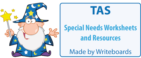Special Needs Handwriting Worksheets for TAS Beginner Font, Special Needs Resources for TAS Beginner Font