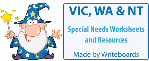 Special Needs Handwriting Worksheets for VIC Modern Cursive Font, Special Needs Resources for VIC,WA, NT