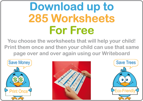 Get up to 285 Free worksheets with our Family Writeboard Kit