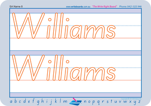 Teach your child how to write their name using SA Modern Cursive Font for SA