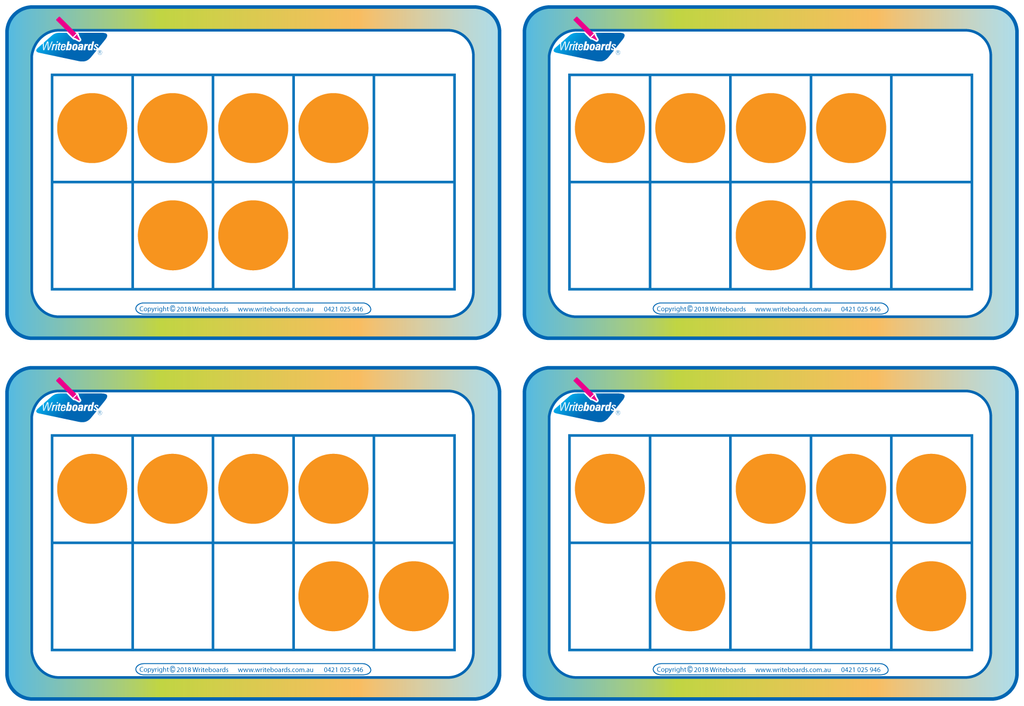 Subitising flashcards on 10 grids. A great teaching resource for your classroom.