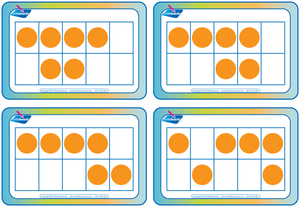 Subitising Flashcards for Childcare and Kindergarten, Subitising flashcards on ten grids
