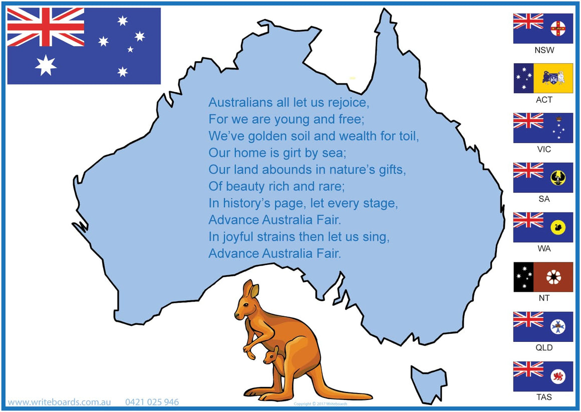 Advance Australia Fair - Writeboards