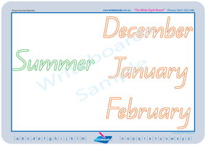 QLD Modern Cursive Font worksheets. Learn days, months, years, weather etc.