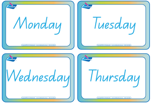QLD Modern Cursive Font Days of the Week Flashcards for teachers, QLD Teachers Resources