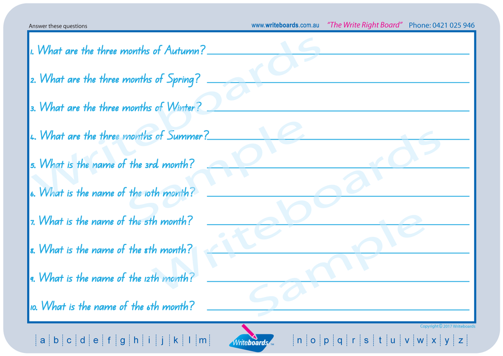 QLD Modern Cursive Font worksheets and flashcards that include learning about today, weeks, months, seasons etc.