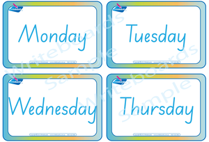 SA Modern Cursive Font Days of the Week Flashcards for teachers, SA Teaching Resources