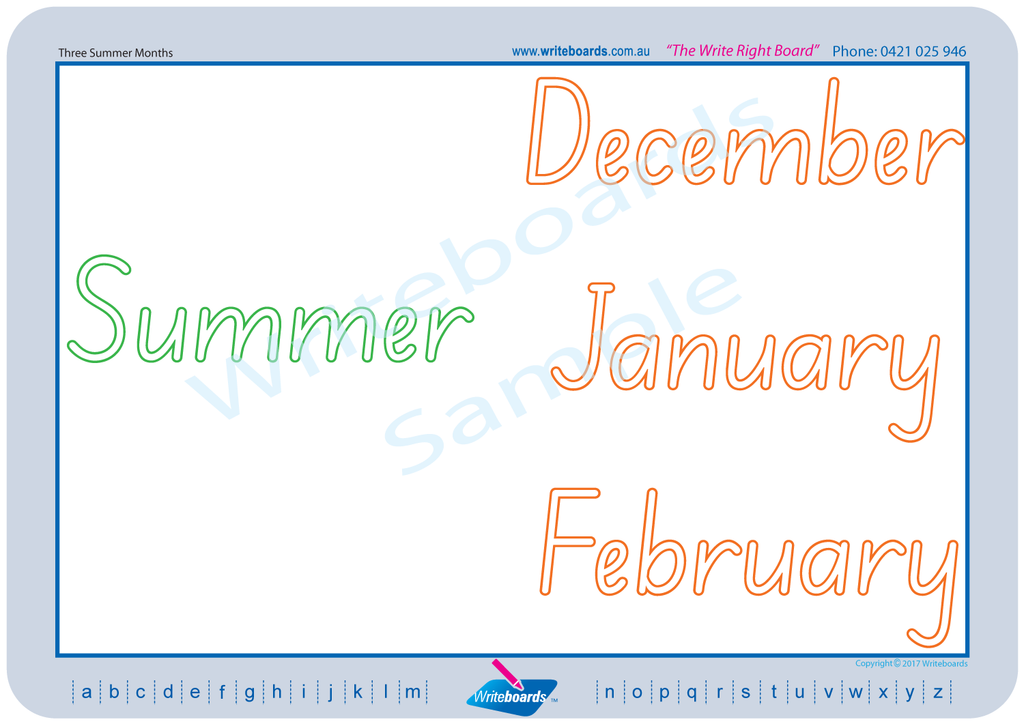 SA Modern Cursive Font worksheets. Learn days, months, years, weather etc.