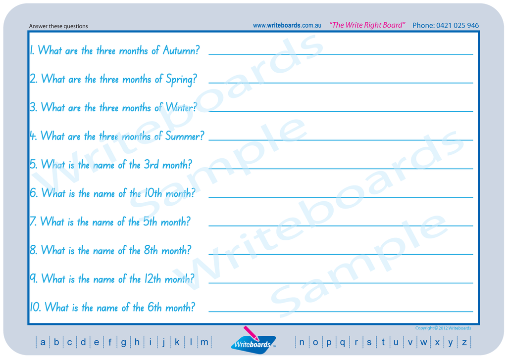 SA Modern Cursive Font Worksheets about months, years, season etc. created by Writeboards