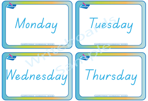 TAS Modern Cursive Font Days of the Week Flashcards for teachers, TAS Teachers Resources