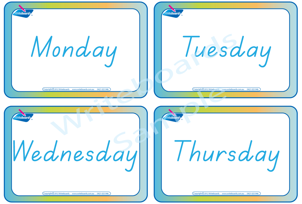 TAS Beginner Font flashcards for the days of the week.