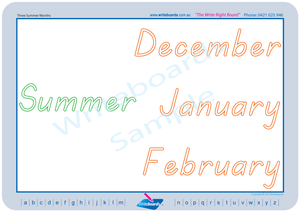 TAS Modern Cursive Font seasons of the year for teachers, TAS Teachers Resources