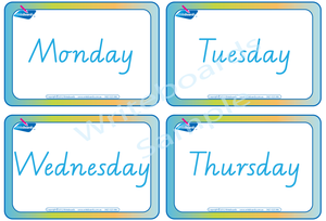 VIC Modern Cursive Font Days of the Week Flashcards for teachers, VIC and WA Teachers Resources