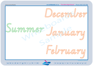 VIC Modern Cursive Font seasons of the year for teachers, VIC and WA Teachers Resources
