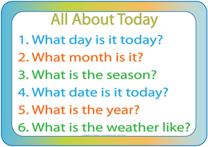 TAS Modern Cursive Font names of days - seasons - months - weather etc.