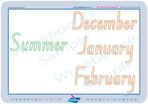 NSW Foundation Font handwriting worksheets on the Seasons of the year for teachers
