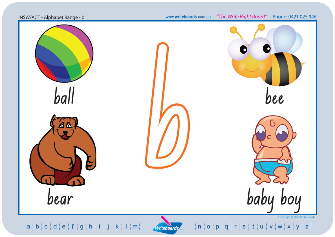 NSW Alphabet Handwriting Worksheets for Tutors and Therapists that follow the phonic system for initial sounds