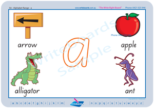 SA Modern Cursive Font Beginner Alphabet Handwriting Worksheets and Flashcards for Teachers, SA Alphabet Teaching Resources