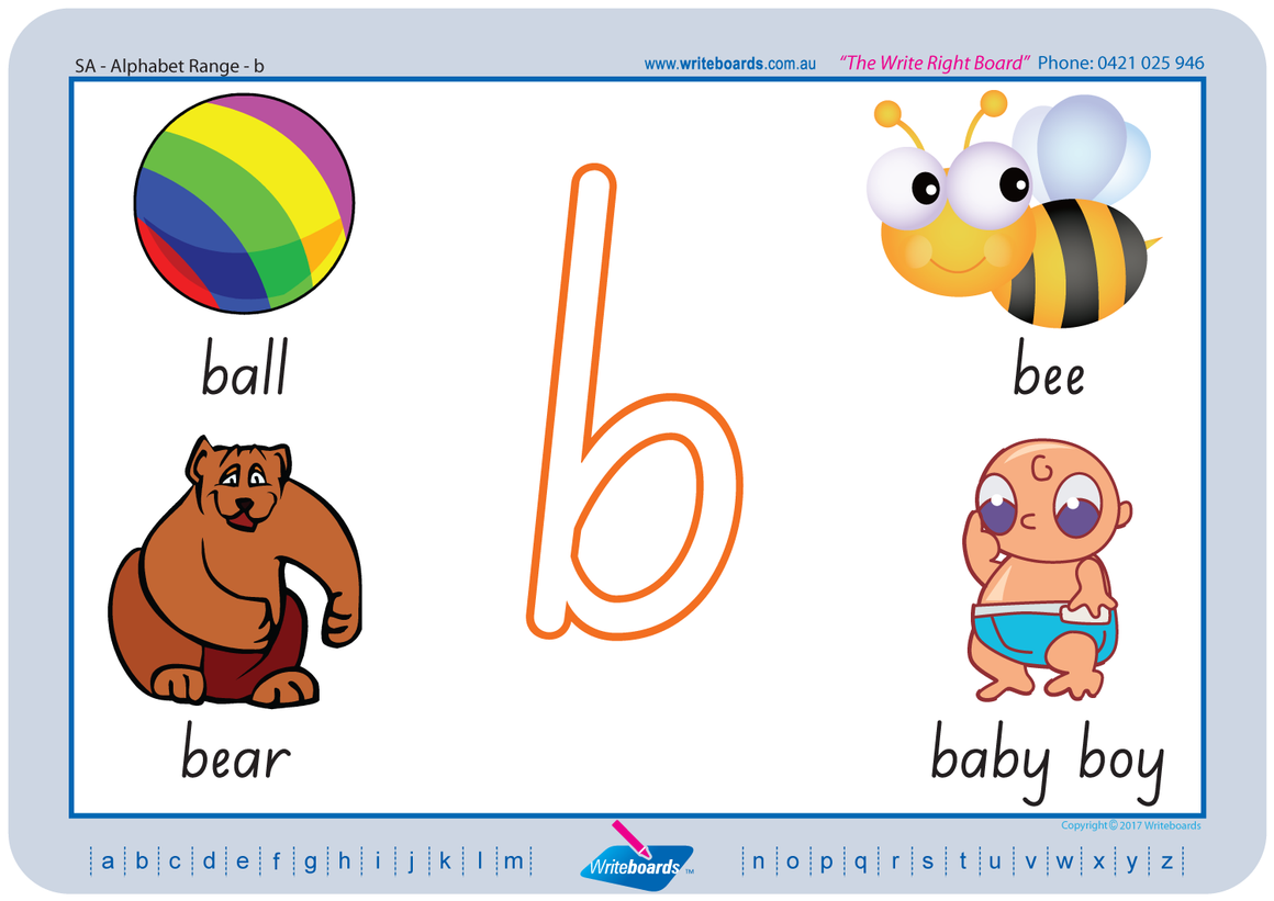 Beginner SA Modern Cursive Font Alphabet Handwriting Worksheets for Teachers and Schools. SA Handwriting.