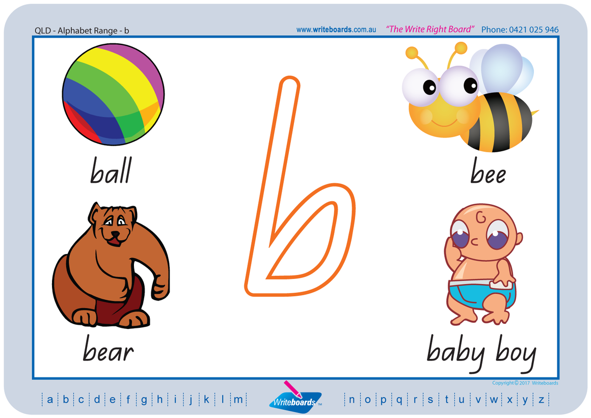 QLD Modern Cursive Font alphabet handwriting worksheets, QLD alphabet worksheets.