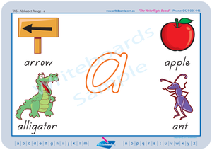 TAS Modern Cursive Font alphabet handwriting worksheets, TAS phonic alphabet worksheets with pictures