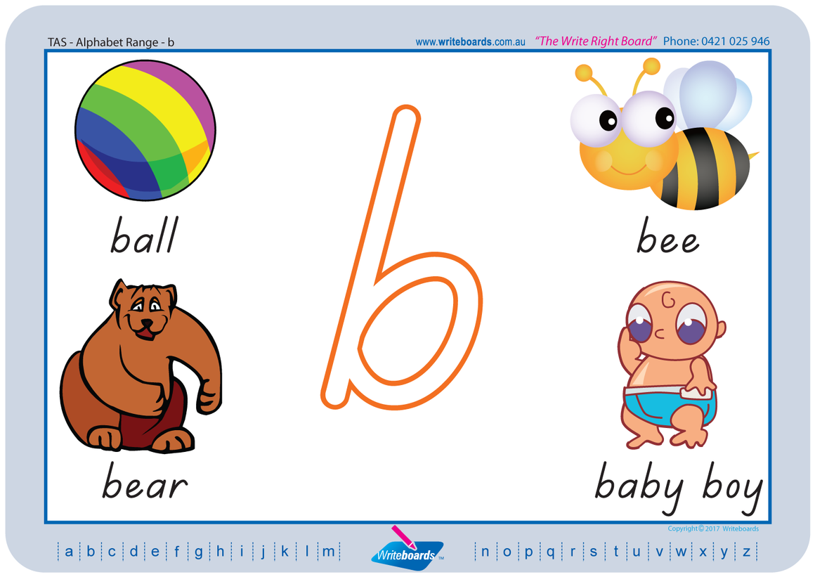 TAS Beginner Font Easy Alphabet Handwriting Worksheets for Teachers and Schools. TAS Handwriting.