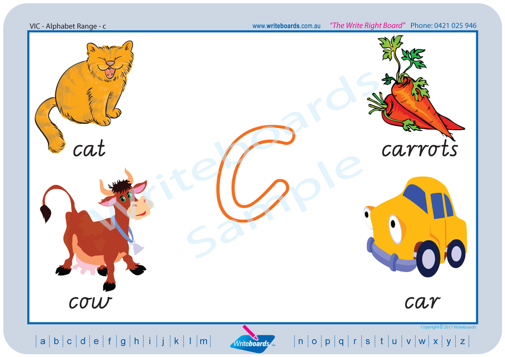 VIC Modern Cursive Font alphabet handwriting worksheets. VIC, WA and NT alphabet worksheets.