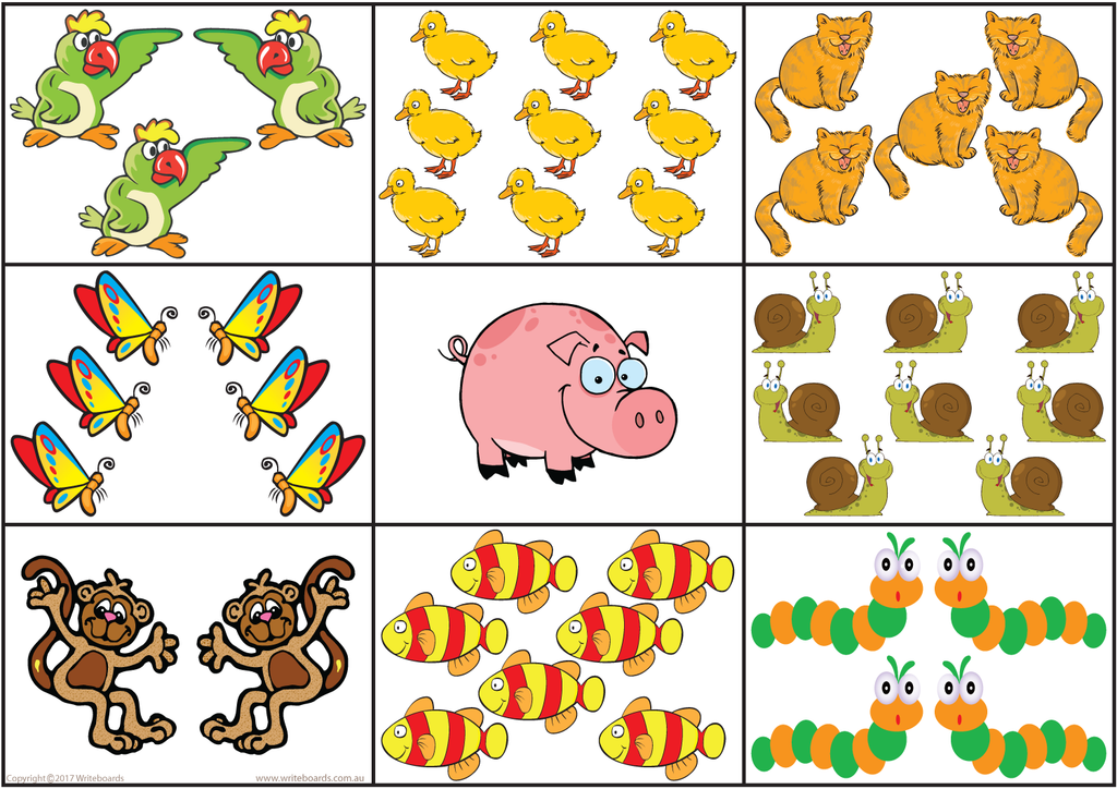 VIC Modern Cursive Font number bingo Worksheets, Animal Bingo created by Writeboards