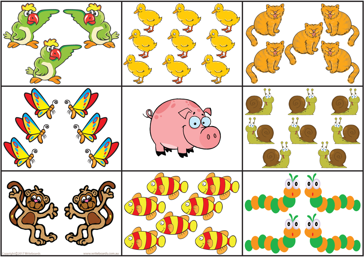 QLD Modern Cursive Font number bingo Worksheets, Animal Bingo created by Writeboards